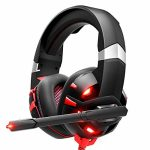 RUNMUS Gaming Headset Xbox One Headset with 7.1 Surround Sound Stereo, PS4 Headset with Noise Canceling Mic & LED Gentle, Love minded with PC, PS4,