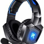 RUNMUS Gaming Headset for PS4, Xbox One, PC Headset w/ Surround Sound, Noise Canceling Over Ear Headphones with Mic & LED Light, Take care of minded with PS4,