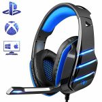 PS4 Gaming Headset with Mic, Beexcellent Latest Deep Bass Stereo Sound Over Ear Headphone with Noise Isolation LED Gentle for PC Computer Pill Mac (Blue)