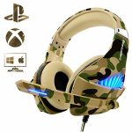 Gaming Headset for PS4 Xbox One PC, Beexcellent Deep Bass PS4 Headset with Noise Immunity Mic, LED Gentle, Friction-Reduction Cable, Excessive Comfort Earmuff-Camo