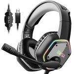 EKSA Gaming Headset with 7.1 Surround Sound Stereo, PS4 USB Headphones with Noise Canceling Mic & RGB Light, Appropriate with PC, PS4 Console, Laptop (Gray)