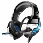Gaming Headset for PS4, Xbox One, PC Headphones with Microphone LED Gentle Mic for Nintendo Swap PsComputer, K5 pro (Sad&Blue)