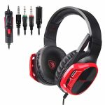 SADES R17 Gaming Headset for PS4 Controller,Xbox One,PC,Laptop,Mac,Tablet,Smartphone,Over Ear Noise-canceling Gaming Headphones with Mic for Nintendo Change Video games(Dark&Pink)