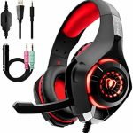 Beexcellent Gaming Headset with Noise Canceling mic, PS4 Xbox One Headset with Crystal 3D Gaming Sound, Memory Foam Earpad for PC, Mac, Laptop, Cell