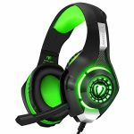 BlueFire Stereo Gaming Headset for Playstation4 PS4 Over-Ear Headphones with Mic and LED Lights for Xbox One, PC, Notebook computer(Green)
