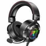 RUNMUS Gaming Headset for Xbox One, PS4, PC Headset w/Encompass Sound, Over Ear Headphones with Noise Canceling Mic & RGB Light, Acceptable with Xbox One,