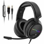Jeecoo Stereo Gaming Headset for PS4, Xbox One S – Noise Cancelling Over Ear Headphones with Microphone – LED Gentle Gentle Earmuffs Bass Encompass Admire minded with Xbox One PC Laptop Nintendo Switch Video games
