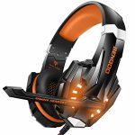 BENGOO G9000 Stereo Gaming Headset for PS4, PC, Xbox One Controller, Noise Cancelling Over Ear Headphones with Mic, LED Gentle, Bass Surround, Quiet Memory Earmuffs (Orange)