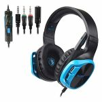 SADES R17 Gaming Headset for PS4 Controller,Xbox One,PC,Notebook computer,Mac,Tablet,Smartphone,Over Ear Noise-canceling Gaming Headphones with Mic for Nintendo Swap Games(Dusky&Blue)