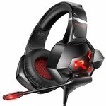 RUNMUS Gaming Headset PS4 Headset 7.1 Encompass Sound Lightweight Over Ear Gaming Headphones with Noise Cancelling Mic,LED Gentle for PS4,Xbox One(Adapter no longer Included),PC,Notebook computer,Mac,Nintendo Switch