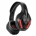PHOINIKAS Detachable Wired Over Ear Gaming Headset for PS4, Xbox One, PC, Nintendo Swap, Noise Cancelling Microphone Headphones with 7.1 Bass Surround, Bluetooth Wi-fi Headset,