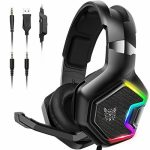 PS4 Gaming Headset – ONIKUMA Gaming Headset with 7.1 Encompass Sound, Xbox One Headset with Noise Canceling Mic LED Gentle, Over-Ear Headphones for PS4, Xbox One,