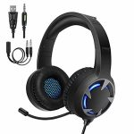 Turnraise Stereo Gaming Headset for PS4,PC,Xbox One Controller,Over-Ear Headphones with Noise Cancelling Tender Memory Ear Pads, LED Gentle,Bass Sound,Admire minded for,Laptop laptop,Tablet,Smartphone