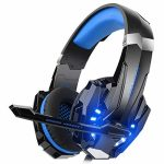 DIZA100 Kotion Every G9000 Gaming Headset Headphone 3.5mm Stereo Jack with Mic LED Gentle for Xbox One S/Xbox one/PS4/Tablet/Laptop pc/Cell Cell phone (Blue.)