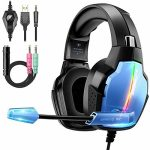 Gaming Headset PS4, Deep Bass Surround Sound Stereo Xbox One Headset, Beexcellent Gaming Headset with Microphone, LED Gentle & Noise Isolation, PS4 Gamer Headset Esteem minded with PC,