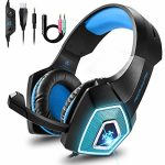 Bovon Gaming Headset for Xbox One, PS4, Mild-weight Stereo Over Ear Headphones with LED Mild, Mic, Volume Defend watch over, Noise Isolation, Adjustable Headband for Neat Telephones Pc PC Mac