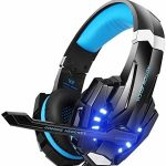 EasySMX G9000 PS4 Stereo Gaming Headset with Mic LED Lights Noise Cancellation and in-line Controller Successfully safe with PS4 Mobile Telephones Laptop Tablet and Laptop (Dim and Blue)