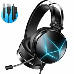 PeohZarr Gaming Headset PS4 headset Xbox One Headset with 7.1 Surround Sound PC Headset with Crystal Positive Mic & Colossal Earpads, Gaming Headphones for Xbox One Controller(Adapter No longer Integrated),