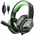 EKSA 7.1 USB Gaming Headset – Surround Stereo Sound – PS4 Headphones with Noise Canceling Mic & RGB Mild Over Ear Headphones, Nicely matched with PC,