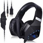 ELCTHUNDER Gaming Headset for Nintendo Change, PS4, Xbox One Video games 3.5mm Wired Gaming Headphone with LED Lights for PC Gaming Headset for Phone Gaming