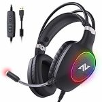 ABKONCORE Gaming Headset with Noise-cancelling Microphone, Lightweight PS4 Headset with 50mm Speaker Driver, Cool RGB LED Light, Gaming Headphone with Stress-Relieving Ear Cushion for PS4,