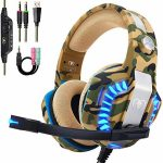 Beexcellent Official Stereo Gaming Headset for PS4 Xbox One PC, All-Quilt Over Ear Headphones with Deep Bass Encompass Sound, LED Mild & Noise Canceling Microphone for Nintendo Swap Mac Computer
