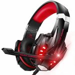 BENGOO Stereo Gaming Headset for PS4, PC, Xbox One Controller, Noise Cancelling Over Ear Headphones Mic, LED Gentle, Bass Surround, Soft Memory Earmuffs for Pc laptop Mac Nintendo Switch Games -Crimson
