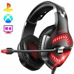 ONIKUMA PS4 Headset-K1 -Gaming Headset Xbox one Headset Gaming Headphone with Surround Sound, RED LED Gentle & Noise Canceling Microphone for PS4,PC,Mac,Xbox One(Adapter No longer Integrated)