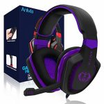 Anivia AH28 Gaming Headset Noise Setting apart Over Ear Headphones with Mic, Quantity Control, Bass Surround, Soft Memory Earmuffs for Xbox One PS4 PC Computer Mac Telephones Nintendo Switch Video games-Dark Purple