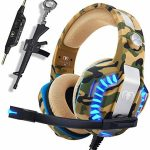 Camo Gaming Headset for PS4 Xbox One PC, Pro Conceal Over Ear Gaming Headphones Mic,Noise Canceling &Stereo Bass Encompass Sound for Nintendo Gamecube MAC Pc,Gun Keychain Gift for Teen