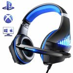 PS4 Gaming Headset with LED Gentle Stereo Gaming Headphones with Soft Reminiscence Earmuffs & Noise Canceling Mic for Video Sport, PC Video games (Blue)