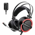 ABKONCORE CH713M Gaming Headset Esport with 7.1 Sound Card, Gaming Headphones for PS4, PC, Xbox,Nintendo Switch, Pc computer, Mac with Noise-Cancelling Mic, Bass Vibration,