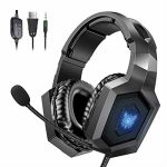 Gaming Headset, ONIKUMA Stereo Gaming Headset for PS4, Xbox One Headphones with 7.1 Surround Sound, Noise Cancelling Mic, 7 RGB LED Lights, Soft Memory Earmuffs for PC,