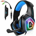 Xbox One Headset with Mic LED Light On Ear Gaming Headphone PS4,3.5mm Wired Gaming Headset for PC Mac Notebook computer Nintendo Swap Gamer Headphone (Blue)