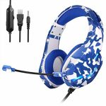 BEIMING 3.5mm Microphone Stereo Surround Headset with Gentle Reminiscence Ear Cups and LED Lights, Appropriate with PS4, Xbox, Nintendo Swap,PC,Mobile Phones, Conceal (Blue)