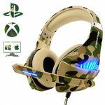 Gaming Headset for PS4 Xbox One PC, Beexcellent Deep Bass PS4 Headset with Noise Immunity Mic, LED Light, Friction-Low cost Cable, High Comfort Earmuff-Camo (Renewed)