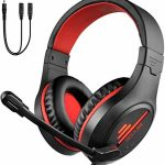 PS4 Xbox One Gaming Headset, Noise Cancelling Mic&LED Light,50mm Hi-Res,Effectively matched with Nintendo Swap,Mac,Notebook computer, Ipad,Xbox One Controller(Adapter No longer Incorporated),3.5mm Wired PC Gaming Headphone