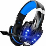 GALOPAR Gaming Headset for PC, PS4, Xbox One Controller, Headset with Noise Canceling Mic & LED Gentle, Bass Encompass, Soft Reminiscence Earmuffs for Computer Mac Nintendo PS3 Games
