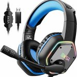 EKSA Gaming Headset with 7.1 Surround Sound Stereo, PS4 USB Headphones with Noise Canceling Mic & RGB Gentle, Correctly fantastic with PC, PS4 Console, Computer (Blue)