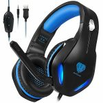 HaiDiKaiSi GH-2 Gaming Headset for Xbox One, PS4, PC, Nintendo Switch, Mac, Laptop with Stereo Encompass Sound, Over Ear Gaming Headphones with Noise Canceling Mic,