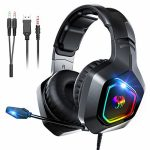 Gaming Headsets for PS4 Snoky, Over Ear Headphones with Noise Canceling Microphone RGB Gentle and Stereo Encompass Sound, Neatly effective with PC, Xbox One, Laptop