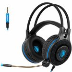 SADES SA936 Gaming Headset for Xbox One, PS4, PC Gaming Headset Over Ear Headphones with Mic Gentle Weight To find Volume Protect watch over (Dark&Blue)