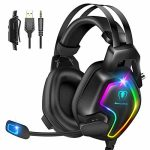 Gaming Headset for PS4 PC Xbox One Controller, Skilled PS4 Headset with 7.1 Surround Sound, Noise Cancelling Mic, RGB LED Gentle, Peaceful Memory Earmuffs for PC Laptop Tablet Mac