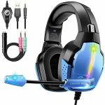 Gaming Headset for PS4 PC with 7.1 Encompass Sound 90 Stage Rotation Tender Earmuffs Crystal Determined Mic 4 Mode RGB Lights Properly matched with PS5 Xbox One