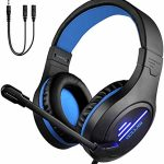 Gaming Headset for PS4 Xbox One, Lightweight Noise Cancelling Over Ear PC Gaming Headphones with Anti-Noise Mic, LED Mild, Surround Sound Soft Memory Earmuffs for Computer laptop,