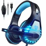 Pacrate Stereo Gaming Headset for PS4, Xbox One, Mac, Computer PC Headset with Noise Cancelling Microphone 3.5mm Gaming Headphones with LED Lights for Formative years Adults (Blue)
