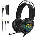 Blade Hawks Gaming Headset for PS4 Xbox One, Wired PC Gaming Headphones RGB with Noise Canceling Mic 7.1 Encompass Sound Air Permeable Earmuffs for Switch/PC/Mac