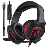 Mpow EG11 Gaming Headset for PS5 PS4 PC Xbox Change with 3D Bass Encompass Sound Over-Ear Headset with Noise Cancelling Mic, On-Line Control, Memory Earmuffs, Gaming Headphone