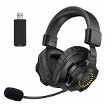 2.4GHz Wi-fi Headphones with Noise Canceling Microphone,RGB Lights, Quantity Control, PC Headset Precise for Nintendo Controller PS4/PS5,Laptop,Mac,Xbox ONE,iPad,Smartphone,Laptop