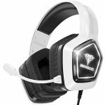 BENGOO G9700 Gaming Headset Headphones for PS4 PS5 Xbox One PC Controller, Noise Canceling Over Ear Headphones with Mic, White LED Gentle, Bass Encompass Sound,…